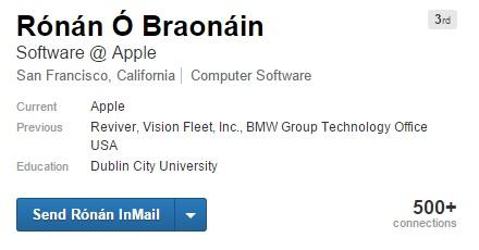 apple car to have digital license plates - ronan O braonain