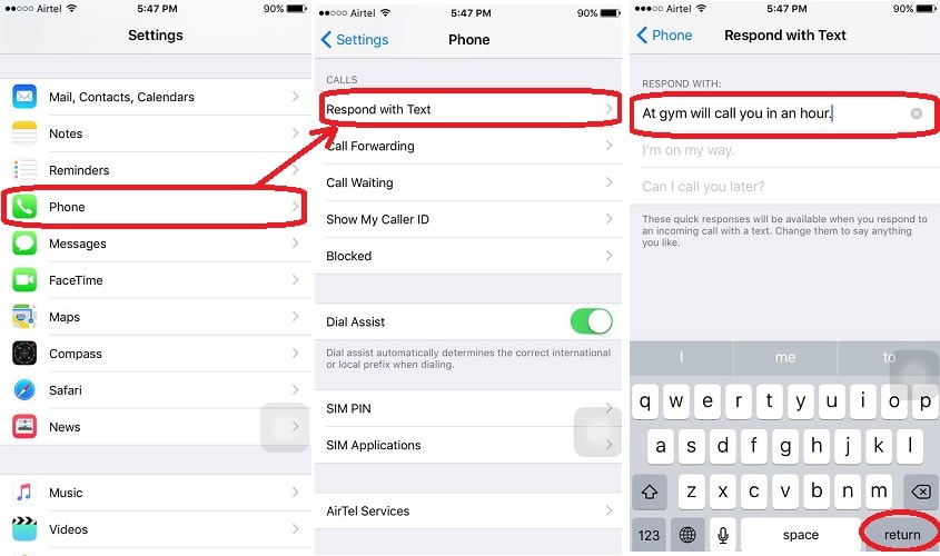 Create Custom replies to incoming call iPhone