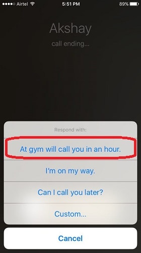 create custom replies to call in iPhone