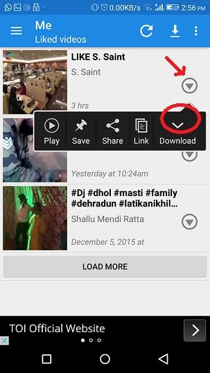 download facebook videos in android device - download icon