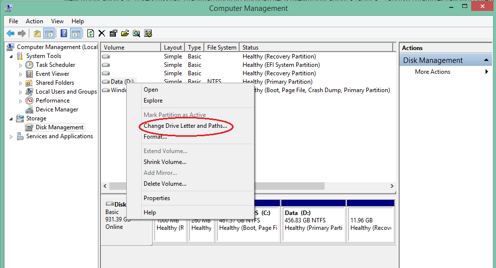 partition hard disk without formatting in windows - change drive letter