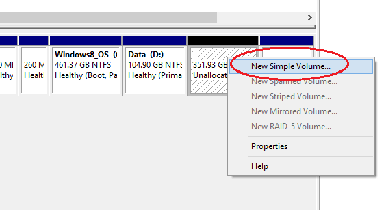 partition hard disk without formatting in windows - new simple volume