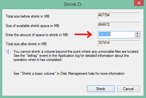 partition hard disk without formatting in windows - volume size