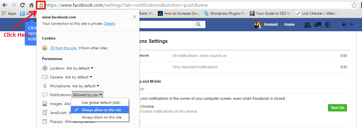 Enable Facebook Notifications Chrome