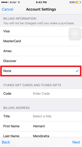Create US Apple ID without credit card