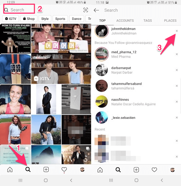 Delete specific Instagram search suggestions and history