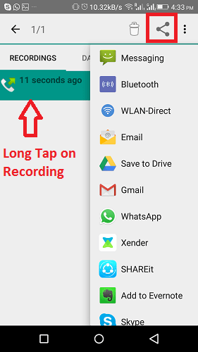 Share WhatsApp call recording