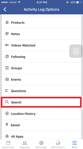 delete Facebook Search History from app