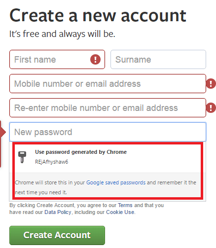 Random Password generator in Chrome