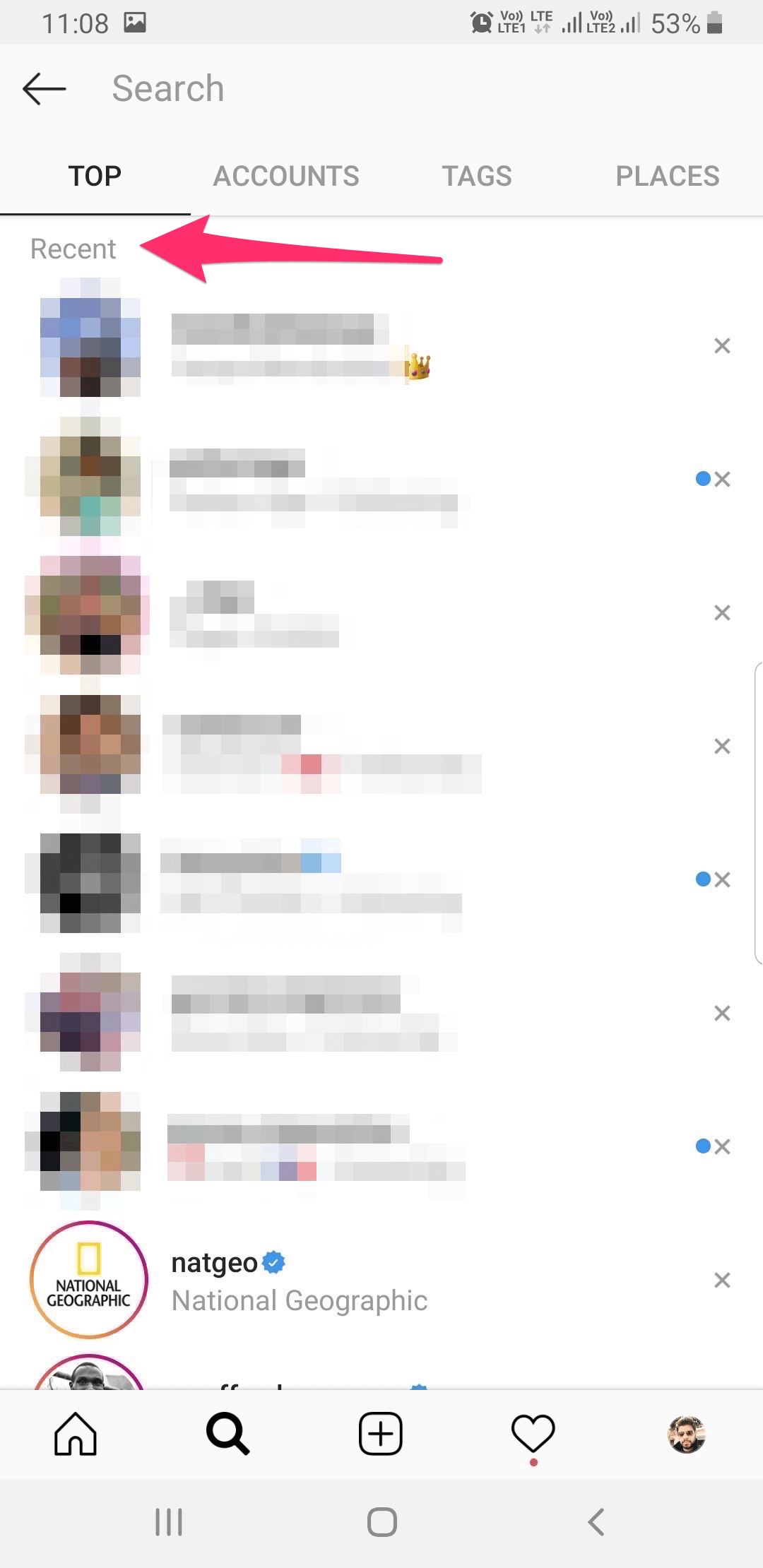 Instagram search history and suggestions