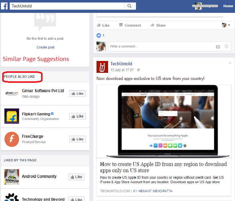 Similar pages Suggestions on Facebook page