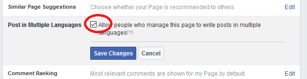 how to post in multiple languages on Facebook - checkbox option page-min