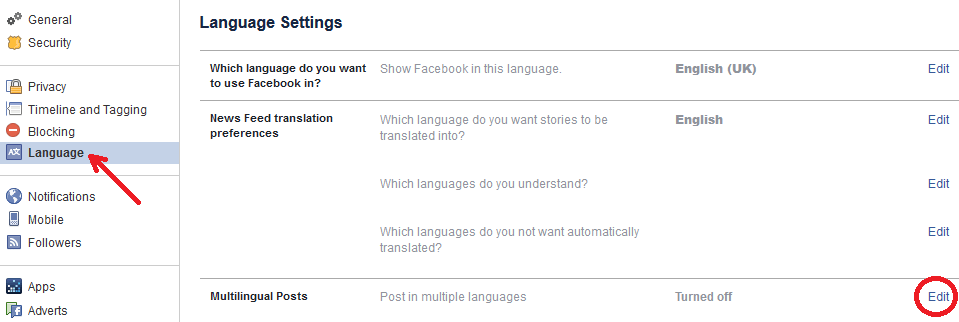 how to post in multiple languages on Facebook - language option-min