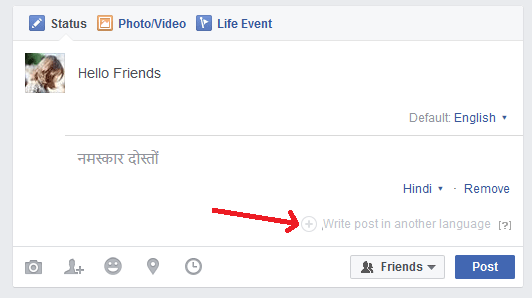 how to post in multiple languages on Facebook - profile post-min