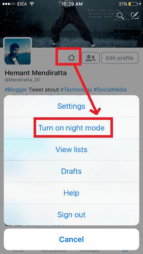 Turn on Night Mode twitter app