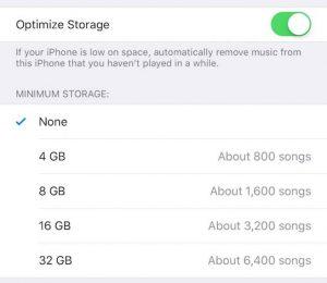 Optimize Music Storage iOS 10