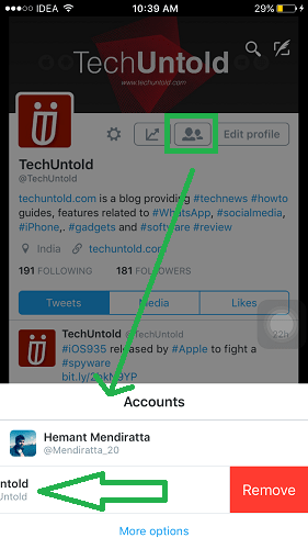 Remove Additional Account Twitter