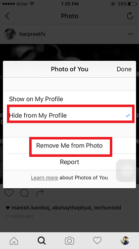 Remove tag from Instagram Photos
