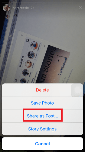 Share Instagram Story as a post