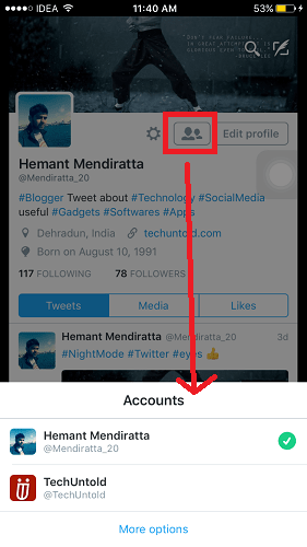 Toggle between multiple twitter accounts