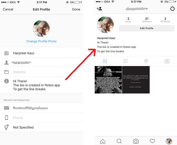 Paragraph spacing in Instagram bio