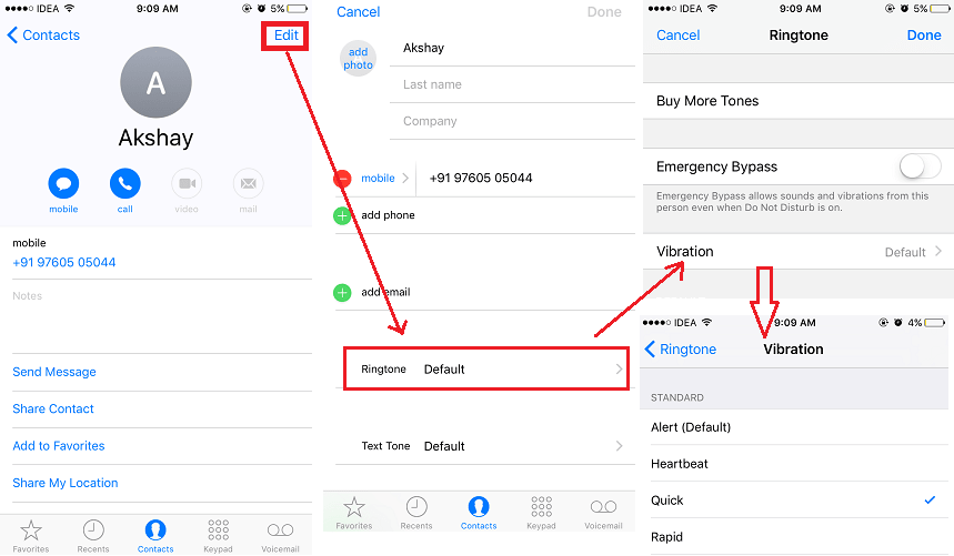 Change vibration on iPhone in iOS 10 for each contact