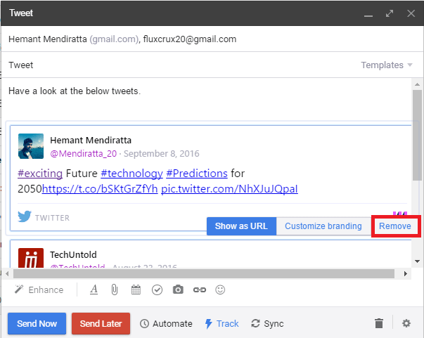 Embed Tweet in Gmail