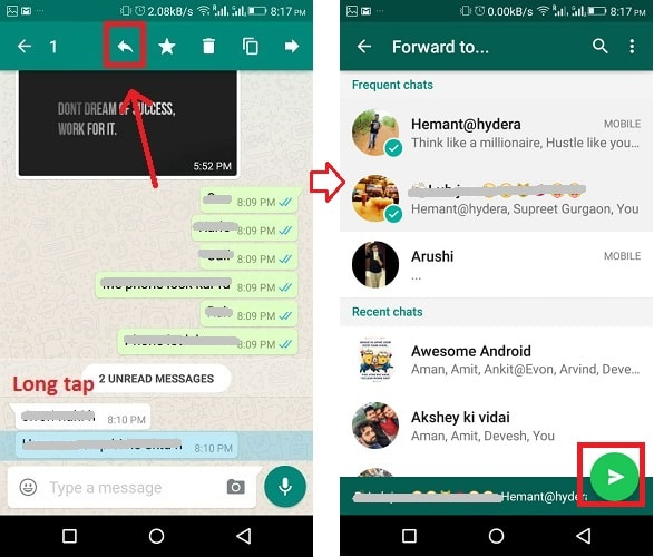 forward whatsapp messages to multiple chats android
