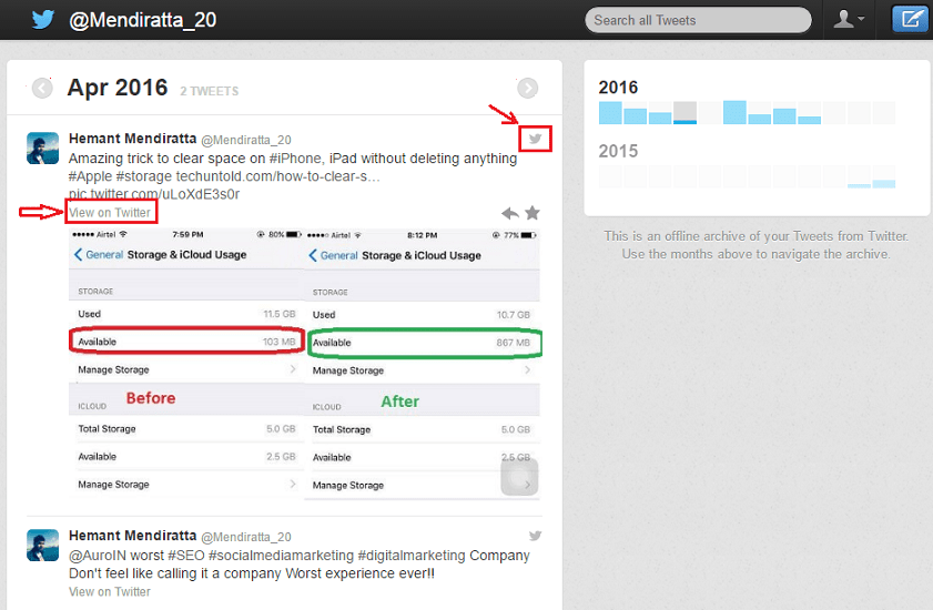 how to use twitter archives
