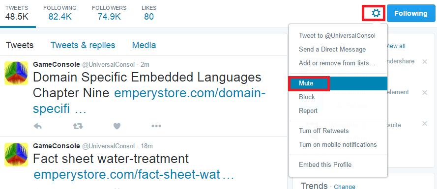 Mute Twitter Account On Web