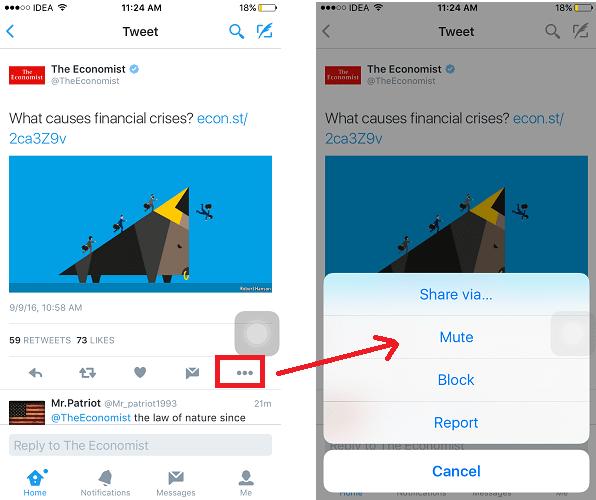 Mute Twitter using app