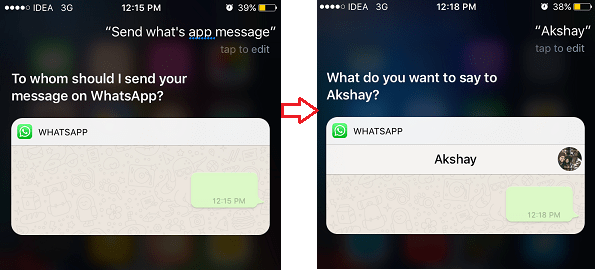send whatsapp messages using siri