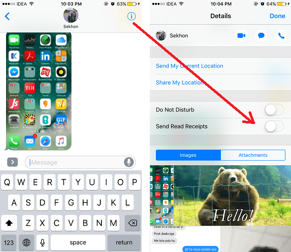 turn off read receipts in imessage for specific contacts