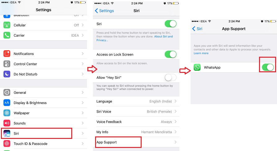 Allow WhatsApp to access Siri