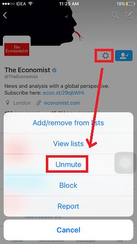 Unmute Twitter account on app