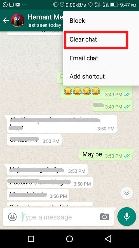 Hide specific contact from Frequently contacted section on WhatsApp Android