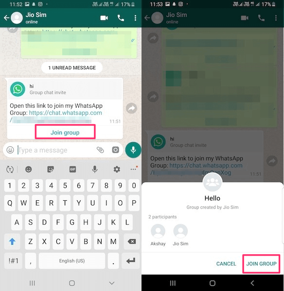 Join WhatsApp group with invite link