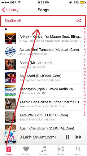 Shuffle Songs iOS 10 Music app