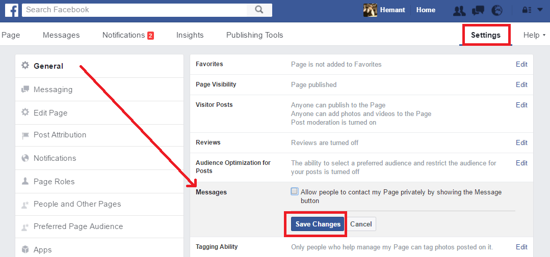 turn off private messages on facebook page