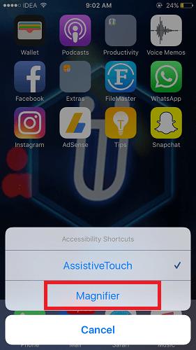 Magnifier iOS 10