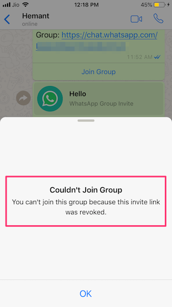 Unable to join group with revoked link on WhatsApp