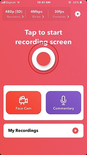 Record it! app dashboard with the record buttong highlighted