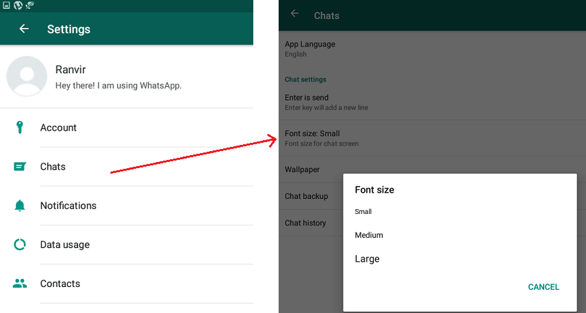 Change WhatsApp Font Size Android