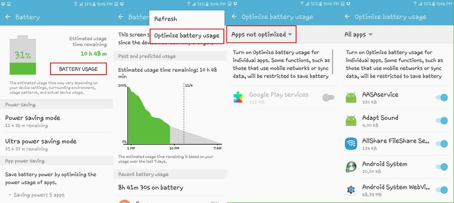 battery optimization marshmallow features