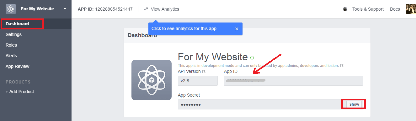 Facebook App ID and App Secret to get follow and share count