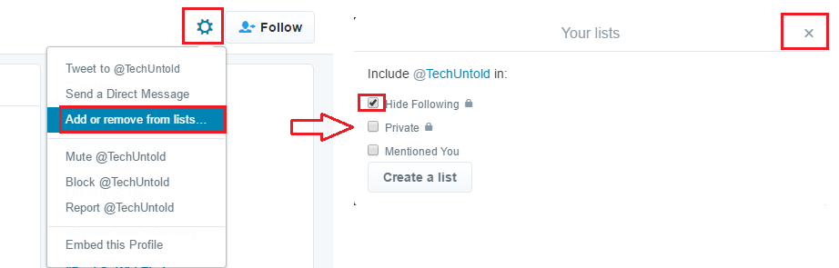 How to create private list on Twitter