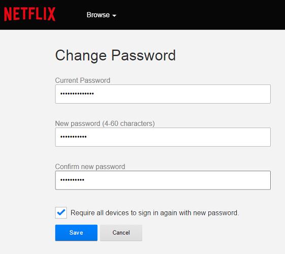how to change netflix password