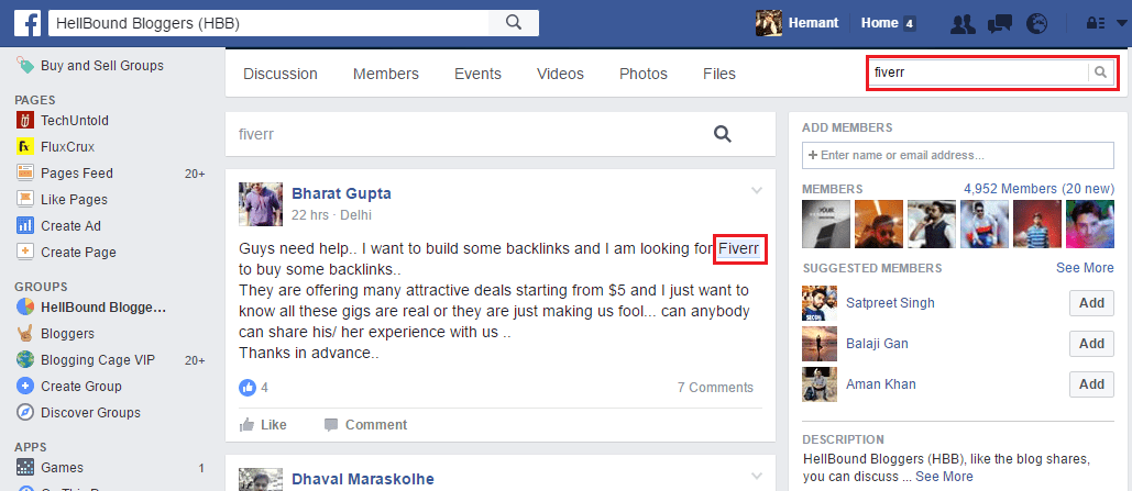 Search Facebook group for specific posts