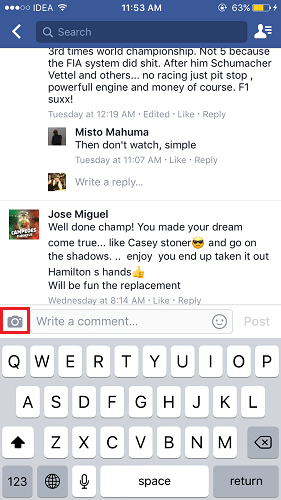 Photo and Video Facebook comments Android iOS app