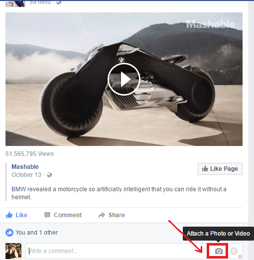 post image in facebook comment